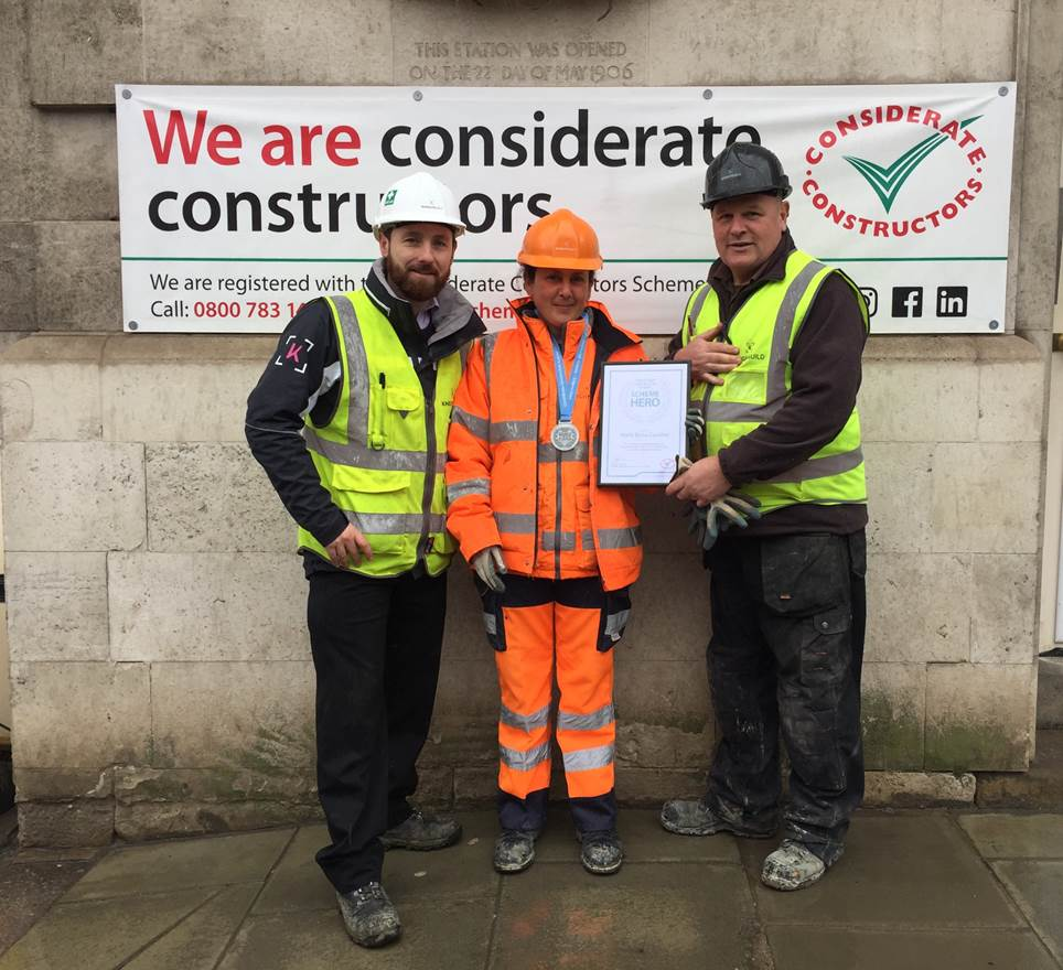 Paul O'Byrne, Health & Safety Manager; Maria Elena Candilio, Traffic Marshal; Kevin Gunson, Site Manager.